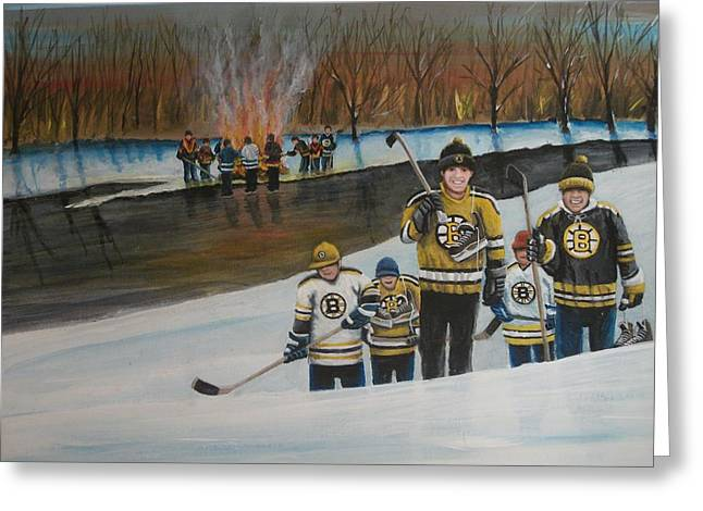 Youth Hockey Paintings Greeting Cards - What A Riot Greeting Card by Ron  Genest