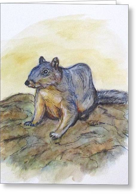 Greeting Card featuring the painting What Are You Looking At? by Clyde J Kell