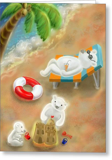 What If Polar Bears Could Migrate To The Topics?  Greeting Card by Siriporn Wachter