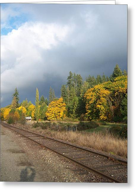 What Lies Beyond The Tracks Greeting Card by Ken Day