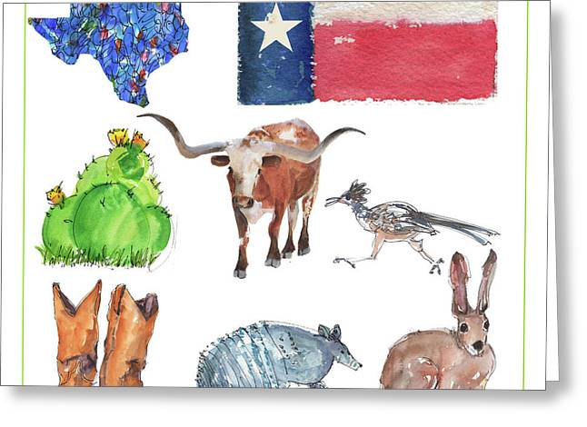 What Texas Loves, Texas Longhorn Watercolor Painting By Kmcelwaine Greeting Card