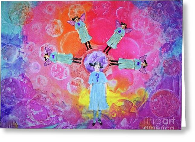 Greeting Card featuring the mixed media What To Do by Desiree Paquette