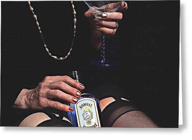 Sexy Black Nylons And Gin Bottle Greeting Card by Robert Frank Gabriel