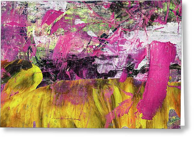 Whatever Makes You Happy - Large Pink And Yellow Abstract Painting Greeting Card