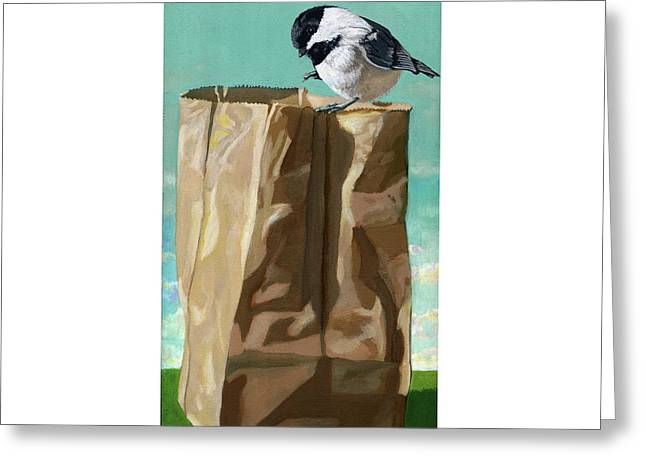 What's In The Bag Original Painting Greeting Card by Linda Apple