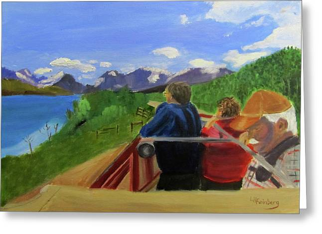 Greeting Card featuring the painting What's Out There? by Linda Feinberg