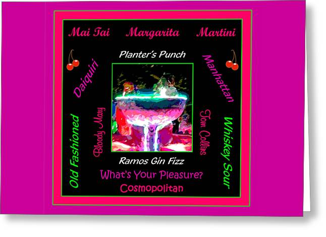 What's Your Pleasure Greeting Card by Marian Bell