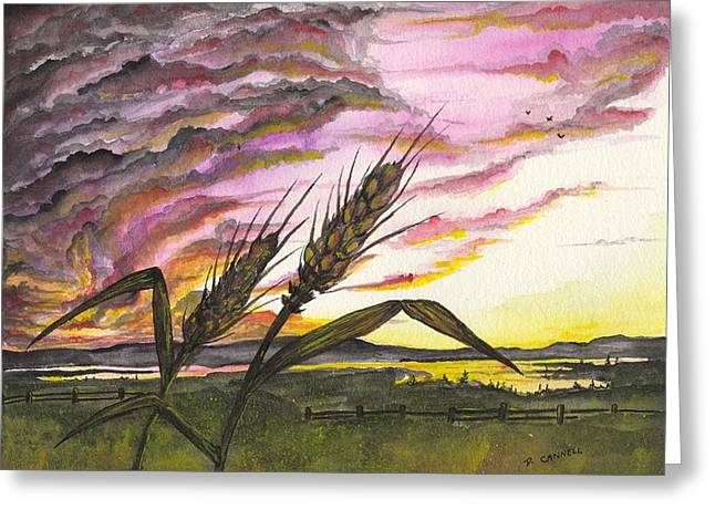 Greeting Card featuring the painting Wheat Field by Darren Cannell