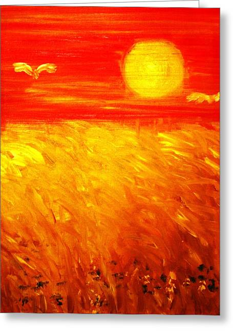 Greeting Card featuring the painting Wheat Field by Evelina Popilian
