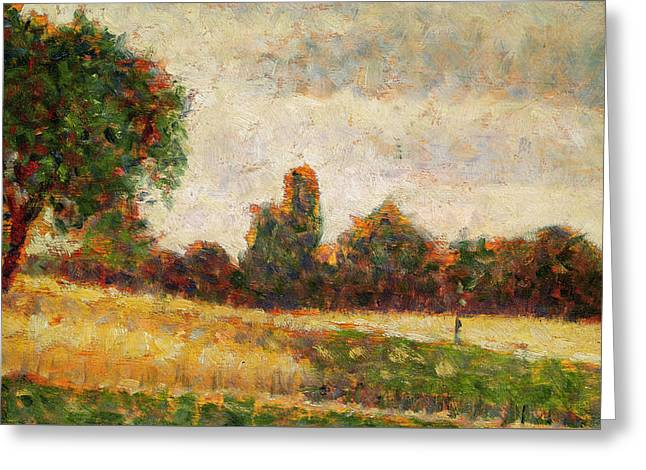 Wheat Field Greeting Card by Georges Pierre Seurat