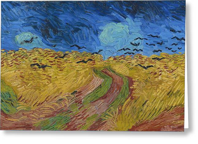 Wheat Field With Crows, 1890 Greeting Card by Vincent Van Gogh