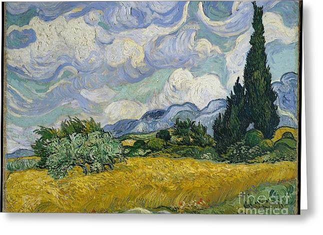 Wheat Field With Cypresses Greeting Card by Vincent van Gogh