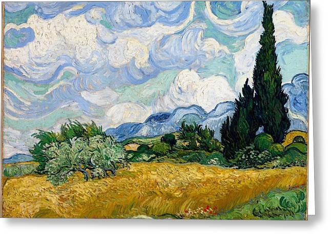 Greeting Card featuring the painting Wheatfield With Cypresses by Van Gogh