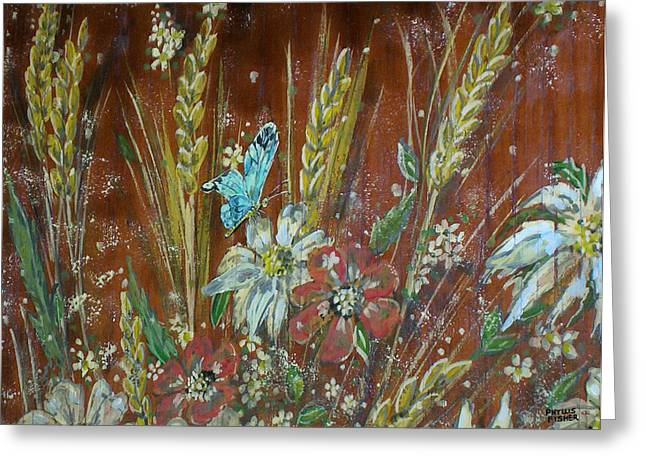 Wheat 'n' Wildflowers I Greeting Card by Phyllis Mae Richardson Fisher