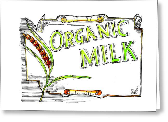 Wheat Organic Milk Label Retro Greeting Card