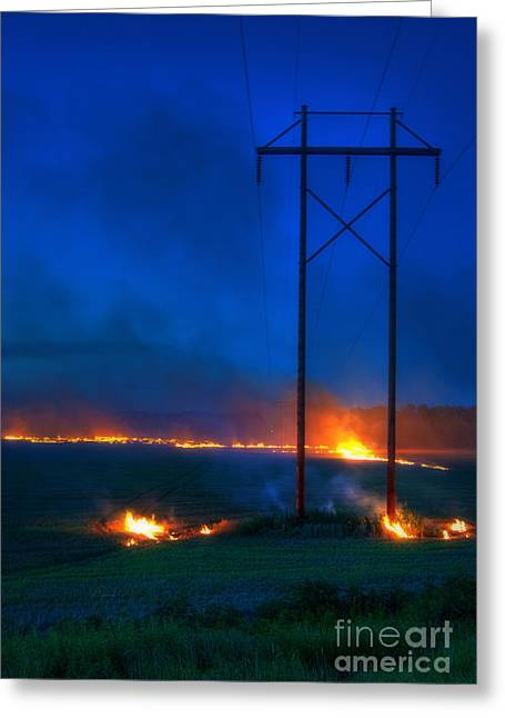 Wheat Stubble Burn Greeting Card