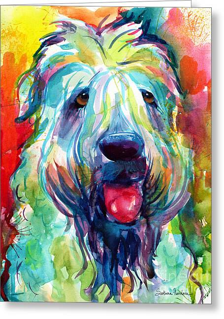 Wheaten Terrier Dog Portrait Greeting Card by Svetlana Novikova