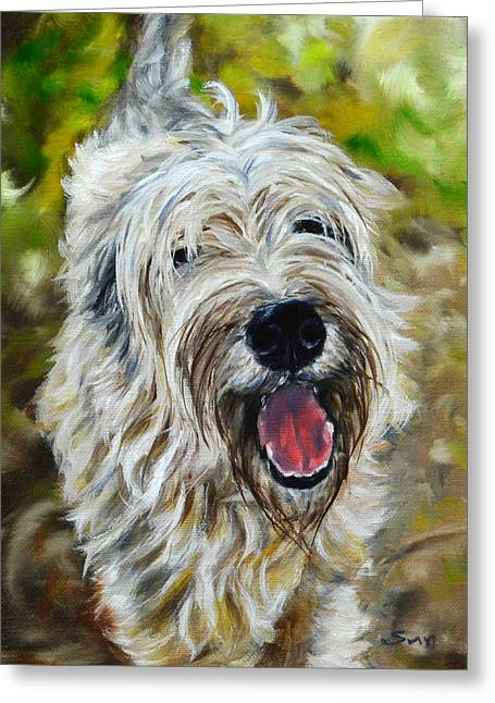 Wheaten Terrier Greeting Card by Sun Sohovich
