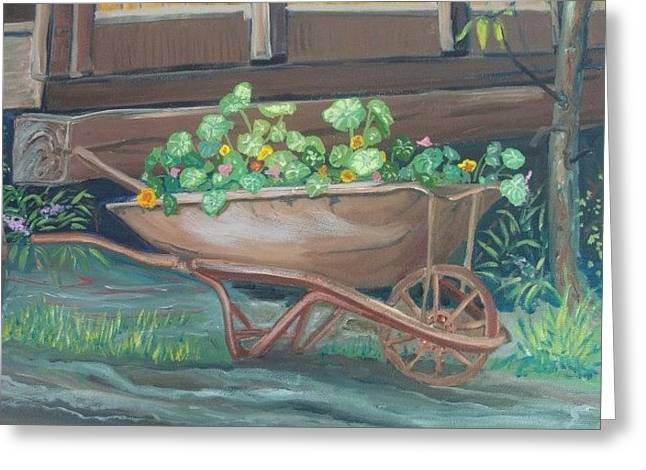 Wheel Barrow Planter Greeting Card by Amy Reisland-Speer