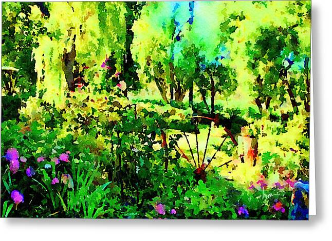 Greeting Card featuring the painting Wheel Garden by Angela Treat Lyon