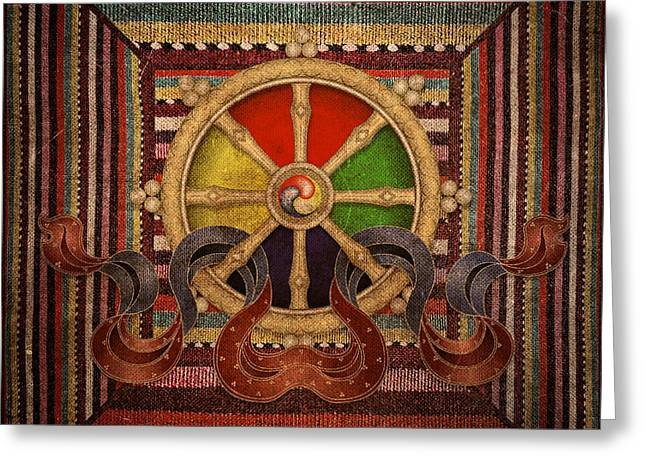 Greeting Card featuring the mixed media Wheel Of The Dharma by Lita Kelley