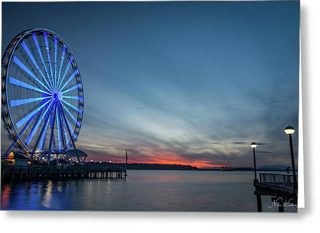 Wheel On The Pier Greeting Card