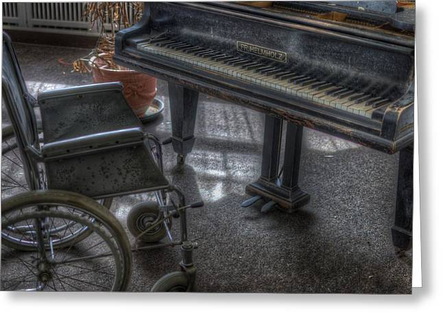 Wheel Piano Greeting Card by Nathan Wright