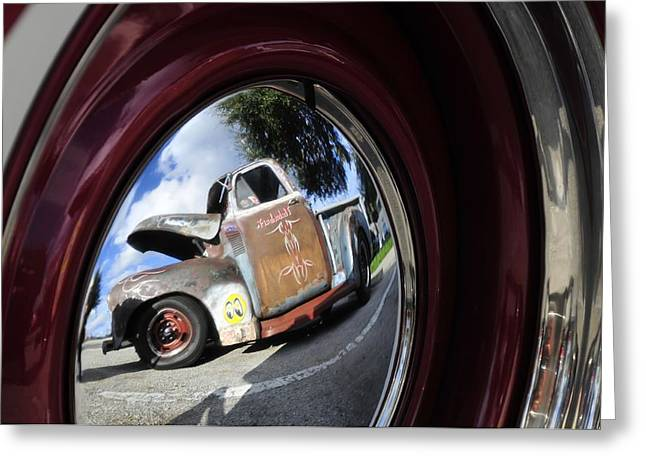 Wheel Reflections Greeting Card by David Lee Thompson
