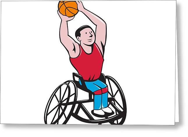 Wheelchair Basketball Player Shooting Ball Cartoon Greeting Card by Aloysius Patrimonio