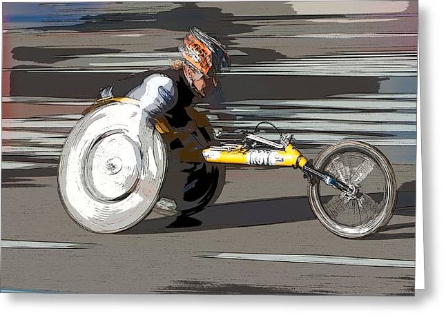 Wheelchair Greeting Cards - Wheelchair Racer Greeting Card by Clarence Holmes