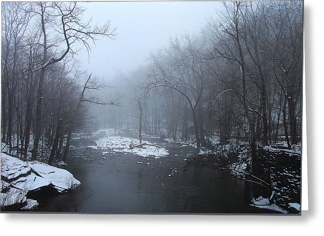 When A Foggy Cloud Calms And Muffles The Kaaterskill Creek Greeting Card by Terrance DePietro