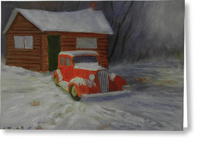 When Cars Were Big And Homes Were Small Greeting Card