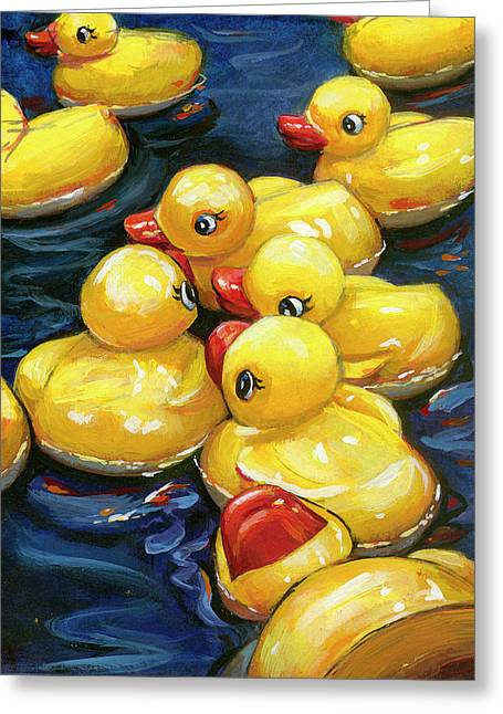 When Ducks Gossip Greeting Card