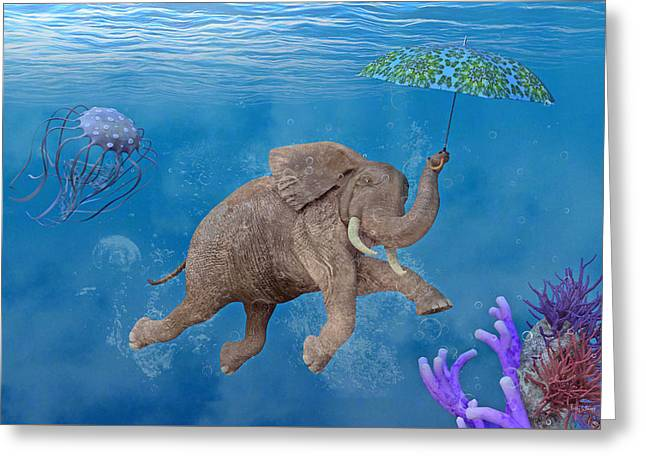 When Elephants Swim Greeting Card by Betsy Knapp