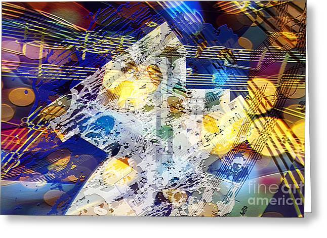 Greeting Card featuring the digital art When Music And Art Embrace by Margie Chapman