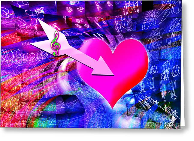 When Music Arrow Targeted Heart  Greeting Card