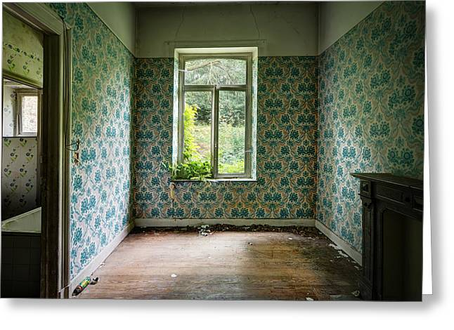 When Nature Takes Over  Vintage Wallpaper- Urban Exploration Greeting Card