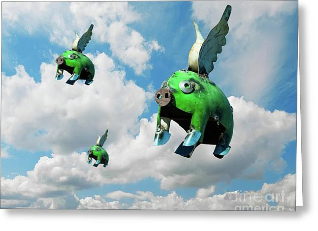 When Pigs Fly Greeting Card by Juli Scalzi