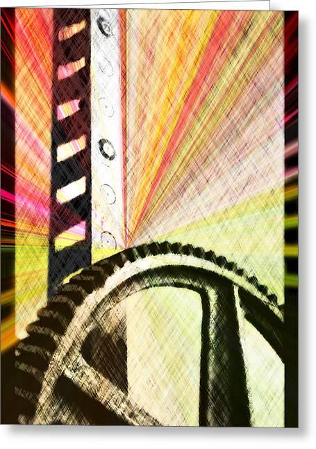 When Rack And Pinion Spark -- Zahnstangenfunkel Greeting Card by Arthur V Kuhrmeier