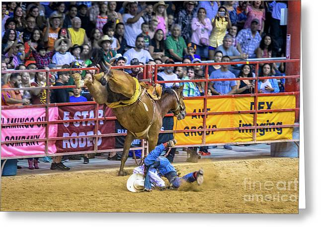 When Riding A Bucking Horse Turns Into Pain Greeting Card