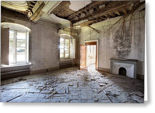 When The Ceiling Comes Down - Urban Exploration Greeting Card by Dirk Ercken