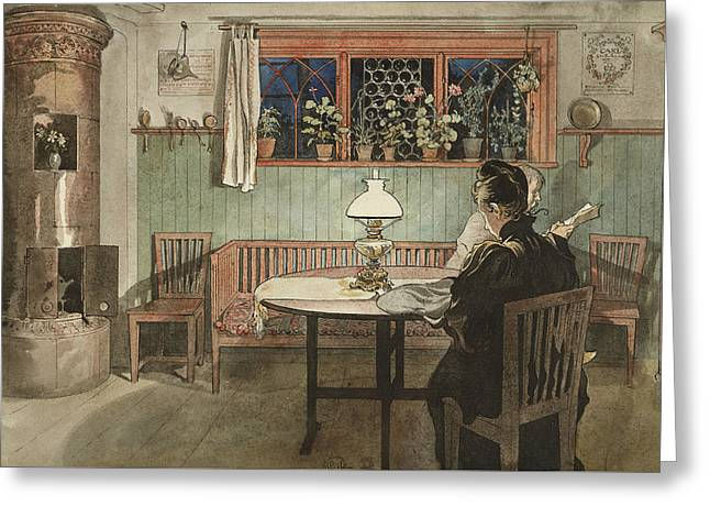 When The Children Have Gone To Bed. From A Home Greeting Card by Carl Larsson
