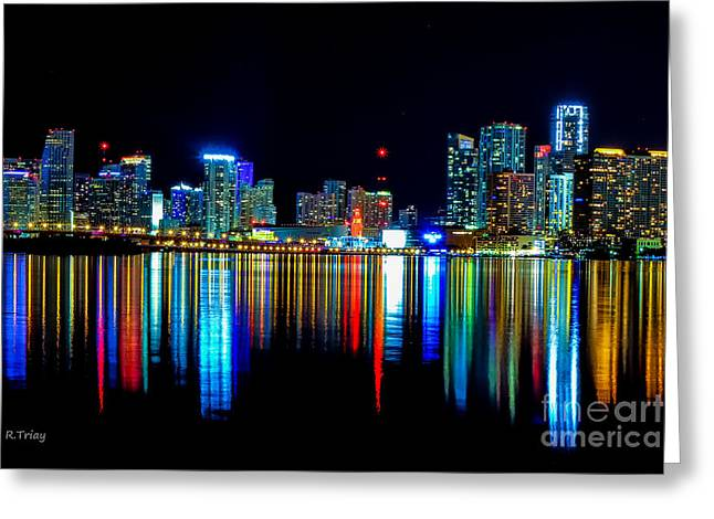 When The Miami City Lights Hit The Bay Waters Greeting Card by Rene Triay Photography