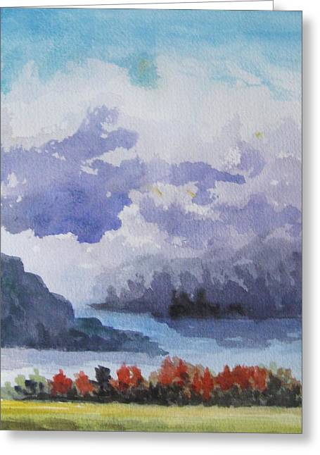 Greeting Card featuring the painting When The Clouds Gather For A Dance by Trilby Cole