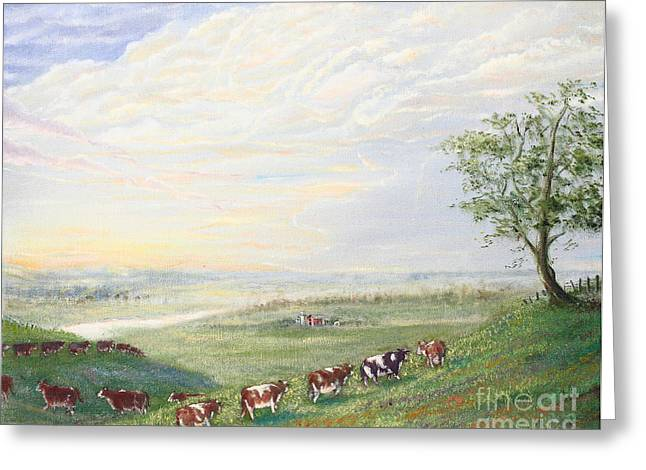 When The Cows Come Home 1991 Greeting Card by Wingsdomain Art and Photography