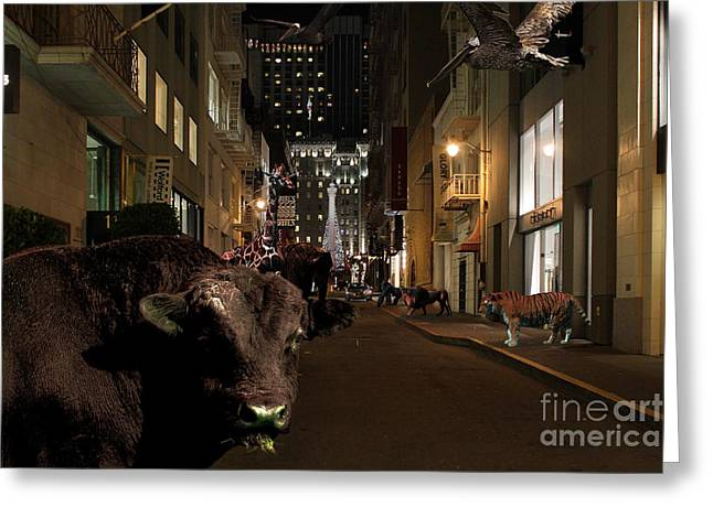 When The Lights Go Down In The City Greeting Card by Wingsdomain Art and Photography