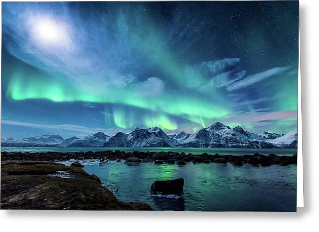 When The Moon Shines Greeting Card by Tor-Ivar Naess