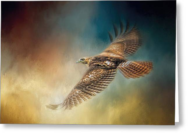 When The Redtail Flies At Sunset Hawk Art Greeting Card