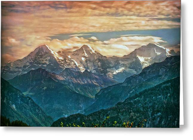When The Sun Says Good Bye To The Mountains  Greeting Card