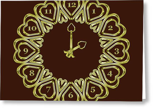 When The Time Stopped - 2 O Clock - Dark Brown Greeting Card